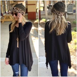 Black asymmetrical long sleeve tunic